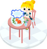 A girl and gold-fish basin. The girl who sitting down at a pink table, and looks at a goldfish basin Royalty Free Stock Photography