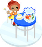 A girl and gold-fish basin Stock Photography