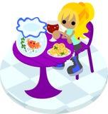 A girl and gold-fish basin Royalty Free Stock Photos