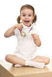 Girl with a gold medal stock photo