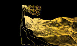 Girl in a golden dress of abstract waves on a