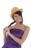 Girl with a golden hat Stock Photos