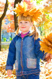 Girl with golden leaves Stock Photos