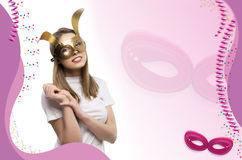 Girl with golden mask Stock Photography