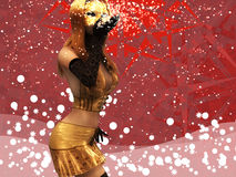 Girl in golden mask blowing snow Stock Photography