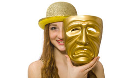 Girl in golden mask isolated on the white Royalty Free Stock Photography