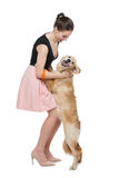 Girl with golden retriever dog Stock Photo