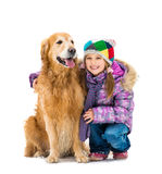 Girl with golden retriever Royalty Free Stock Photo