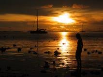 Girl in golden sunset. A girl walking on the beach in the golden sunset Stock Photos