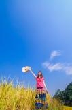 Girl on golden terraces Stock Photo