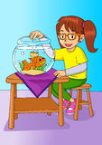 Girl With Goldfish Stock Photography