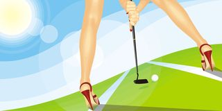 The girl and a golf Royalty Free Stock Images