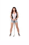 Girl with a golf club Stock Photography