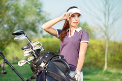 Girl golf player. Beautiful girl golf player portrait Stock Photo