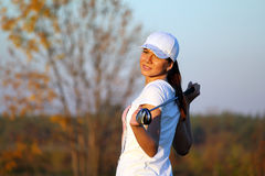 Girl golf player Royalty Free Stock Images