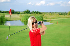Girl golf player portrait Stock Images