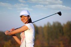 Girl golf player portrait Royalty Free Stock Photos