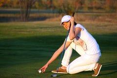 Girl golf player Stock Photo