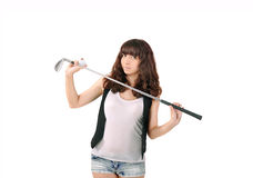Girl and a golf putter. Sports and recreation Royalty Free Stock Photography