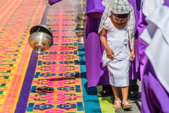 Girl in Good Friday procession, Antigua, Guatemala Stock Image