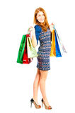 Girl in good mood and shopping Royalty Free Stock Photography