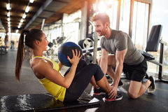 Girl in good shape on fitness training Stock Photo