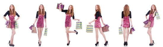 The girl after good shopping on white Stock Photos