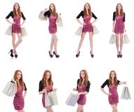 The girl after good shopping on white Royalty Free Stock Photo