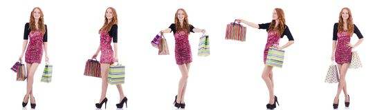 The girl after good shopping on white Royalty Free Stock Photography