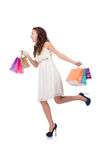 Girl after good shopping Stock Images