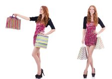 The girl after good shopping on white Stock Photography