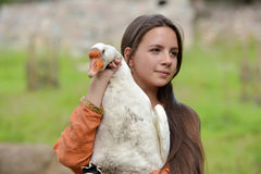 Girl with goose Royalty Free Stock Images