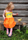 Girl with gosling Royalty Free Stock Photos