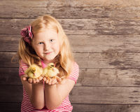 Girl with gosling on wooden background Royalty Free Stock Photos