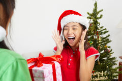 Girl got Christmas ppresent Royalty Free Stock Photography