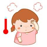 Girl got fever high temperature cartoon  Stock Photos
