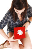 Girl got a gift. Stock Images