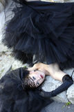 Girl. Gothic bride in black wedding dress and veil shouts Stock Images