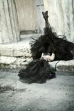 Girl. Gothic bride in black wedding dress and veil shouts Royalty Free Stock Photo