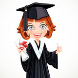 Girl in gown graduate holding a scroll diploma Royalty Free Stock Photography