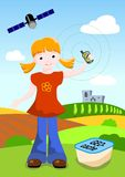 Girl with GPS and geocache Royalty Free Stock Photo