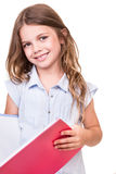 Girl grabbing book Stock Image