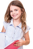 Girl grabbing book Royalty Free Stock Images