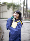 Chinese Graduate in the campus Royalty Free Stock Images