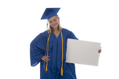 Girl graduate holding sign Royalty Free Stock Photo