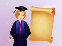 Girl graduate with parchment Stock Photography