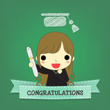 Girl graduate with ribbon and board Royalty Free Stock Photo