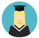 Girl graduate student. Flat vector Stock Photo