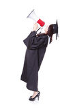 Woman graduate student happy with megaphone Royalty Free Stock Photos