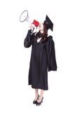 Woman graduate student happy with megaphone Royalty Free Stock Photography